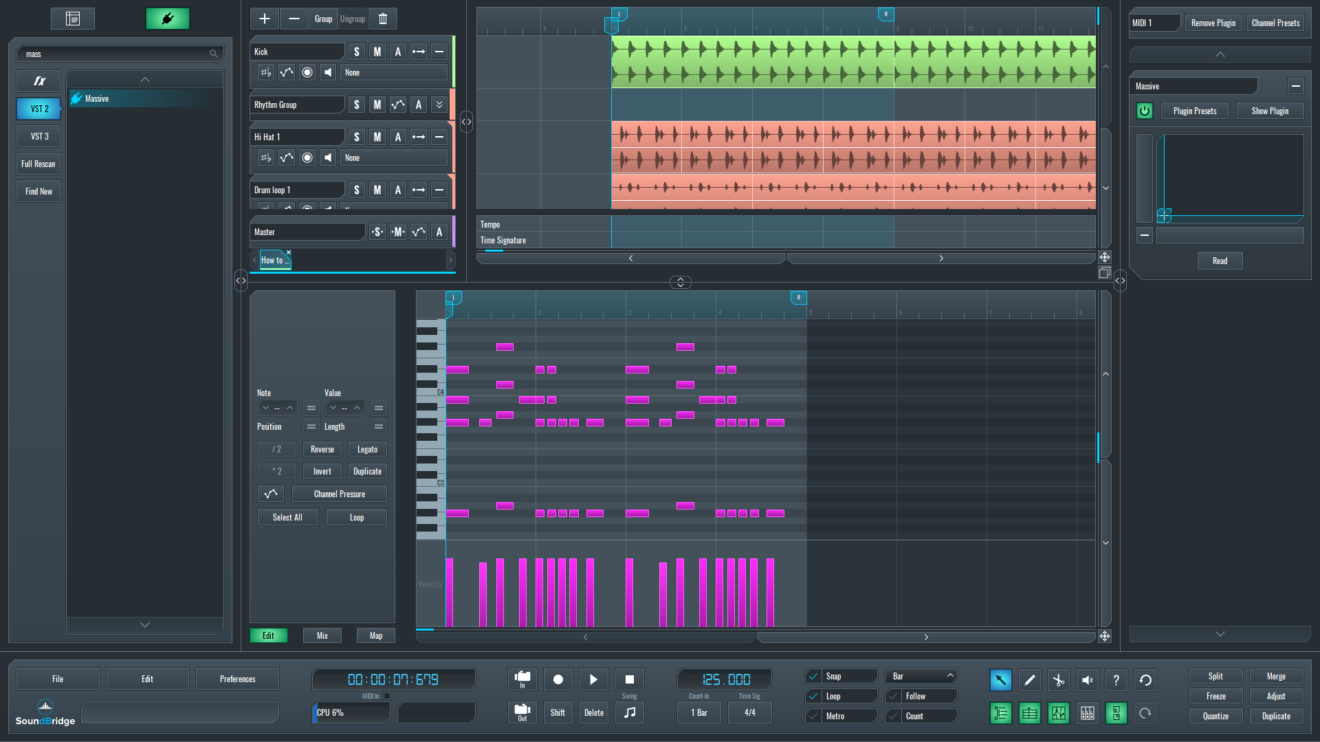 This is a picture of a MIDI chord sequence which I wrote for super saw sound.