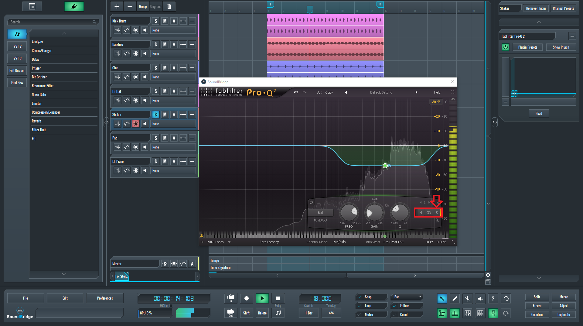 Showing Mid, Stereo, and Side options in FabFilter's Pro-Q2 for Mid-Side EQ article.