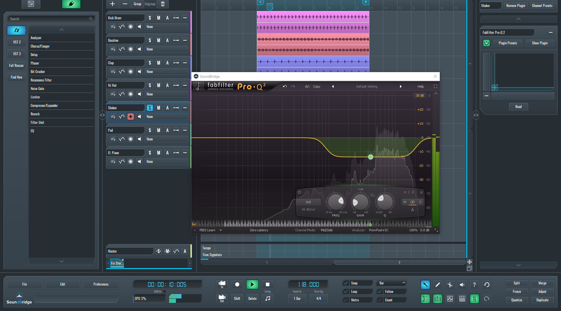 An instance of FabFilter Pro-Q2 on the shaker loop for Mid-Side EQ article.