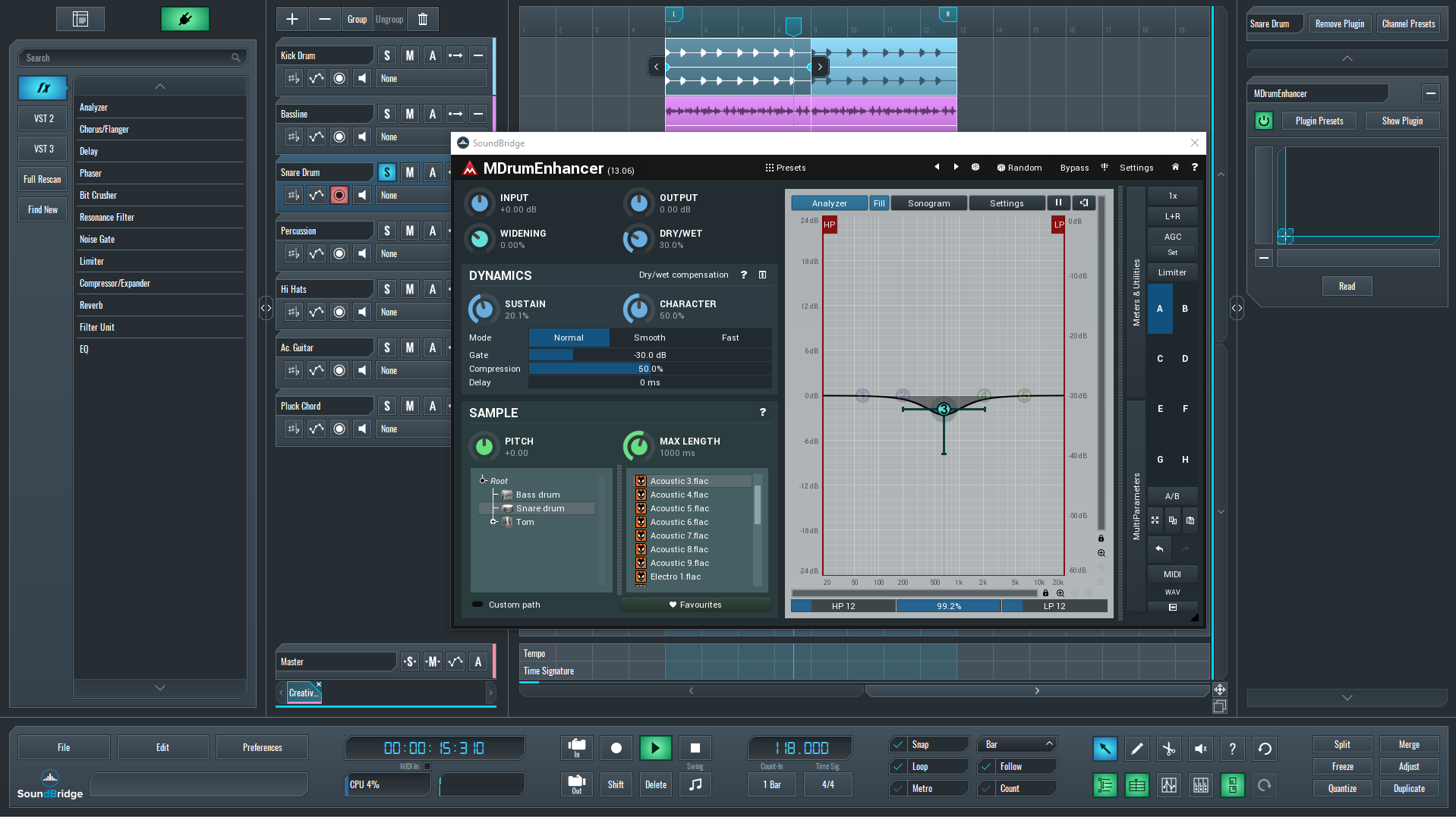 Tune your snare drum to a track with these MDrum settings