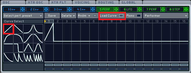 Modulation curve for oscillators in Massive