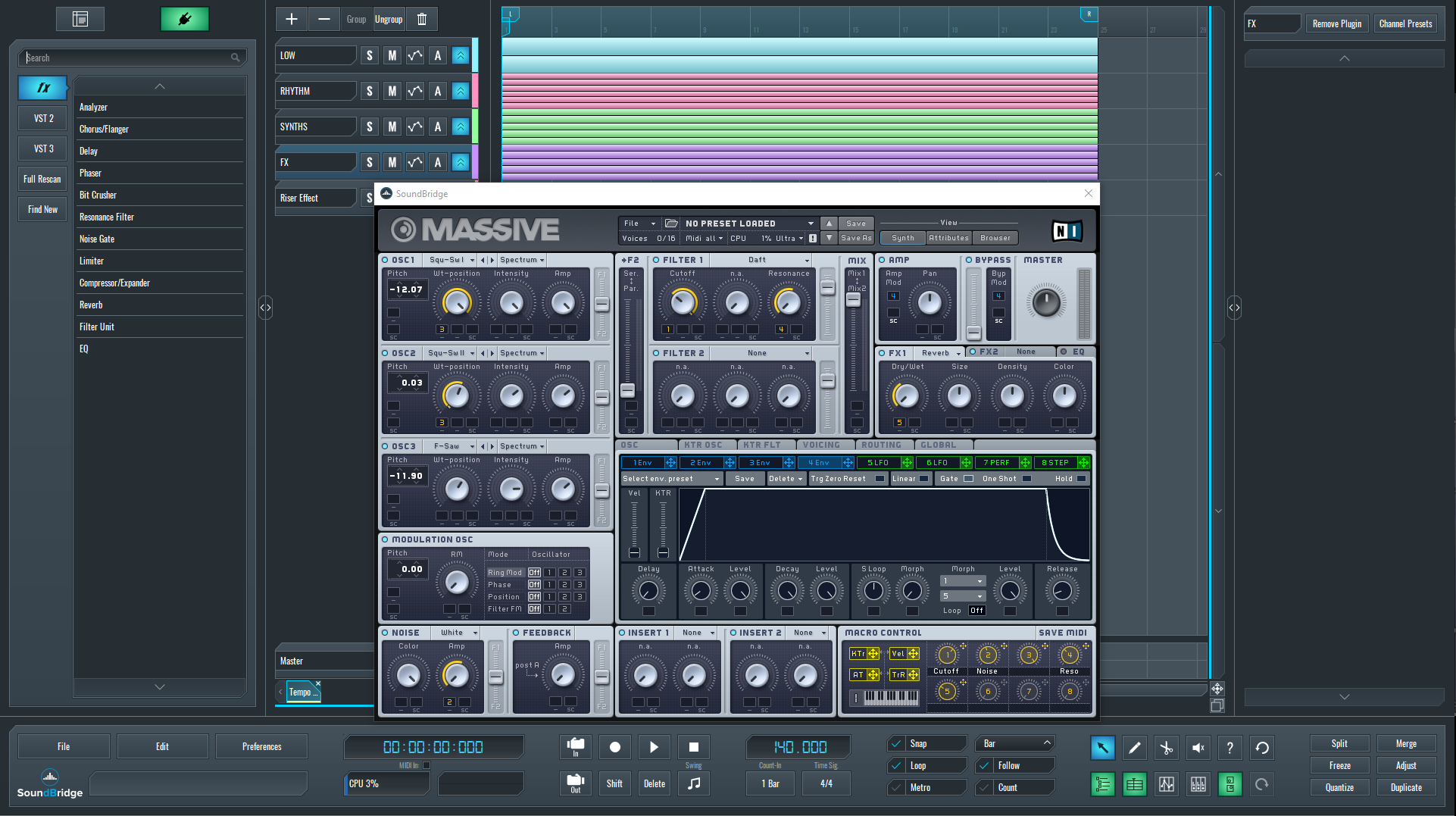 Initial Massive synth parameters for riser effect