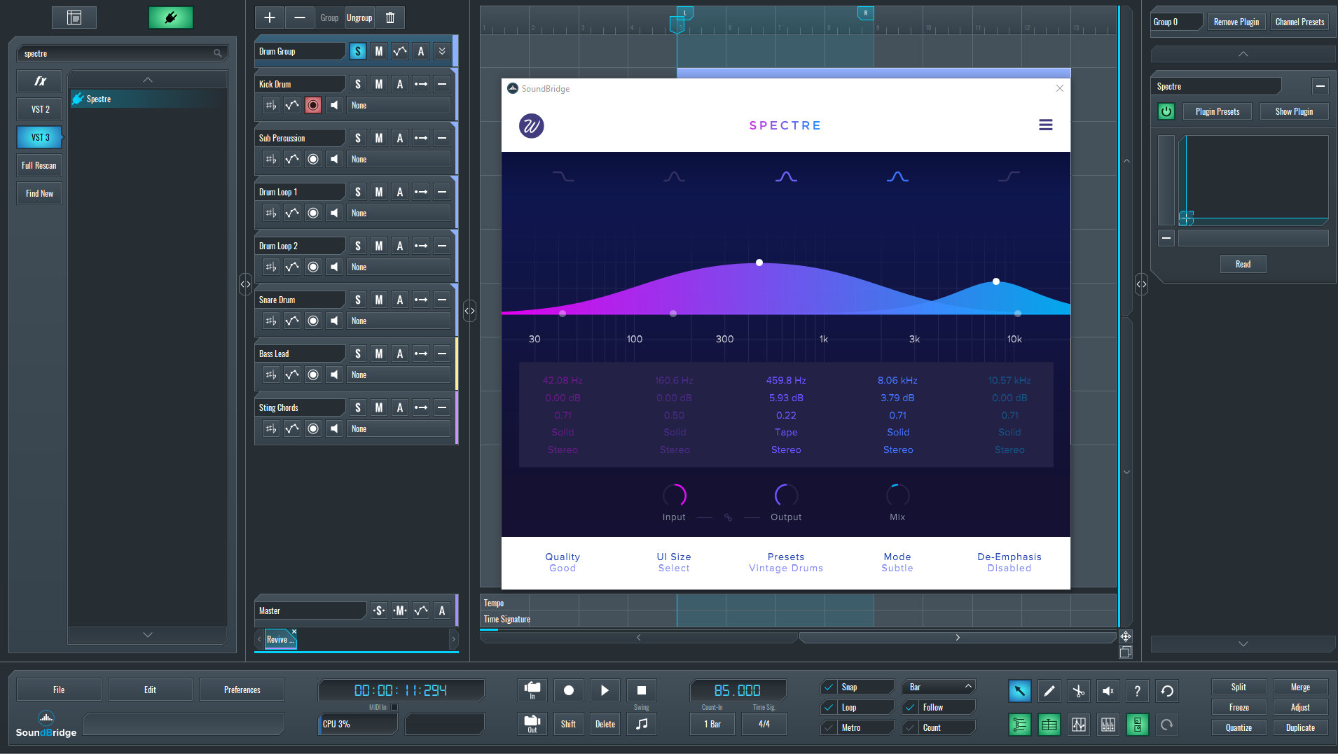 Spectre Multiband Harmonic Saturation Drum Group settings