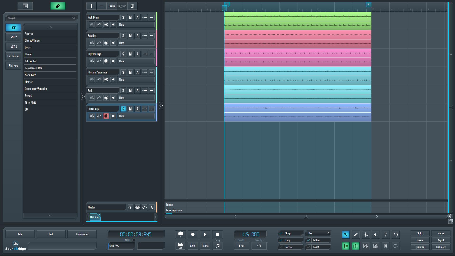 SoundBridge DAW for multi-effect processor on guitar.