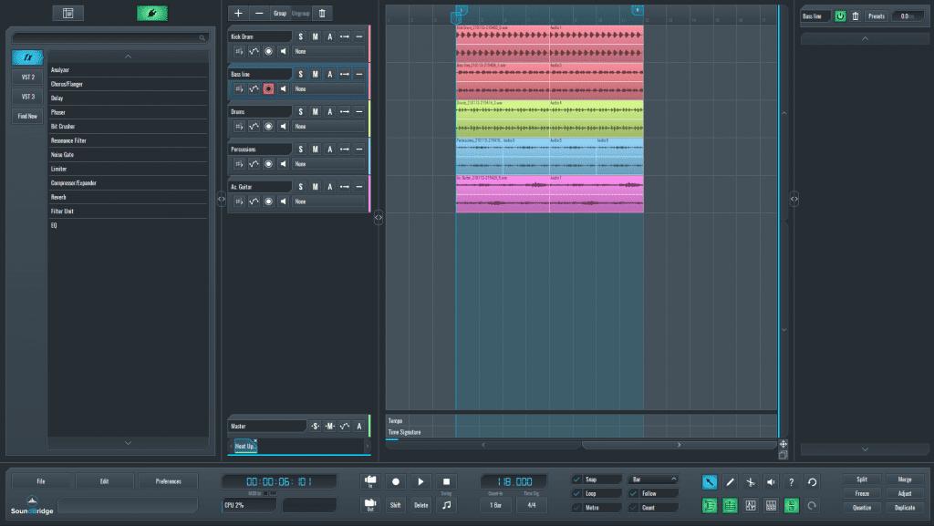 SoundBridge DAW session for layering bassline