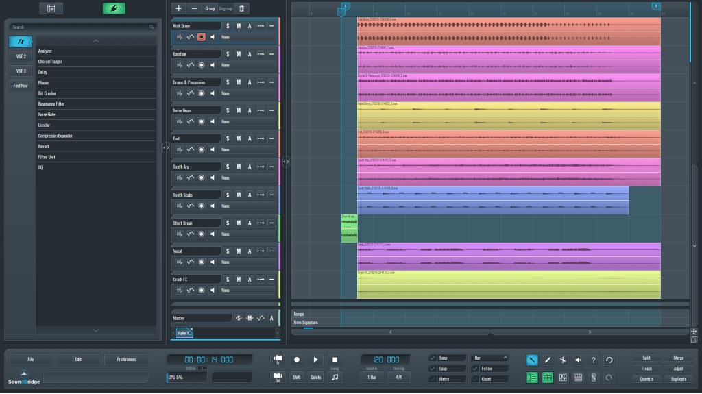 SoundBridge DAW session for reverb effect on vocals