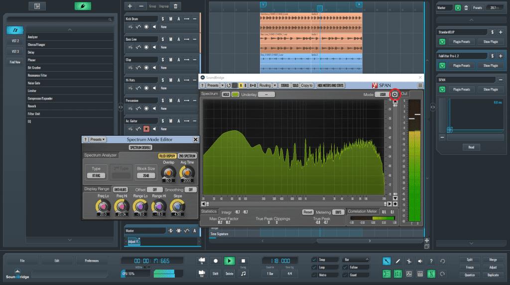 Spectrum mode editor