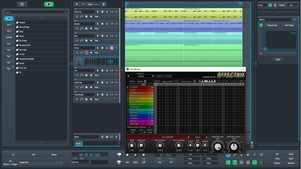 This is a picture of Effectrix default interface which I used on my glitched hi-hat sequence.