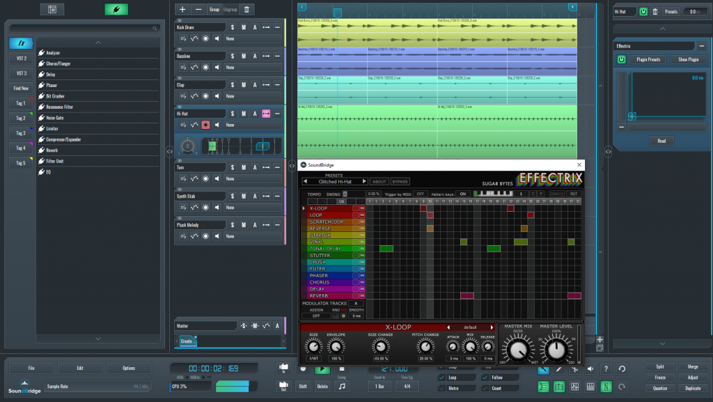 This is a picture of Effectrix setup which I used on my glitched hi-hat sequence.