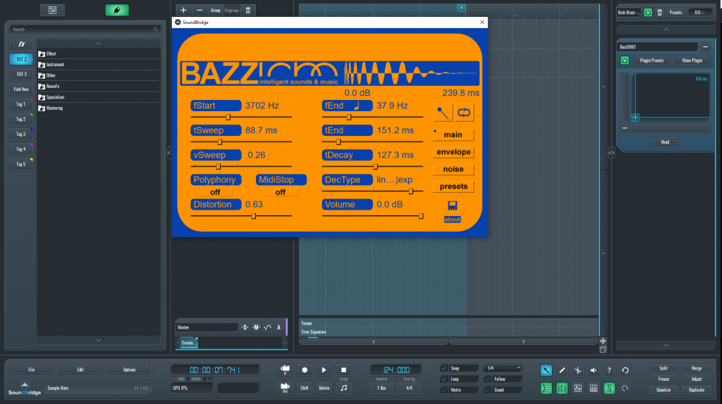 This is a picture of the BazzISM inteface which is used to generate the bottom kick drum layer.