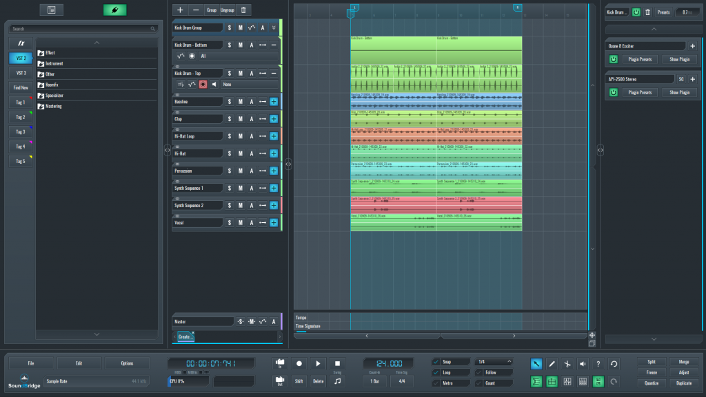 This is a picture of SoundBridge's sequencer containing all the elements of the full mix and the post-processing of the kick drum.