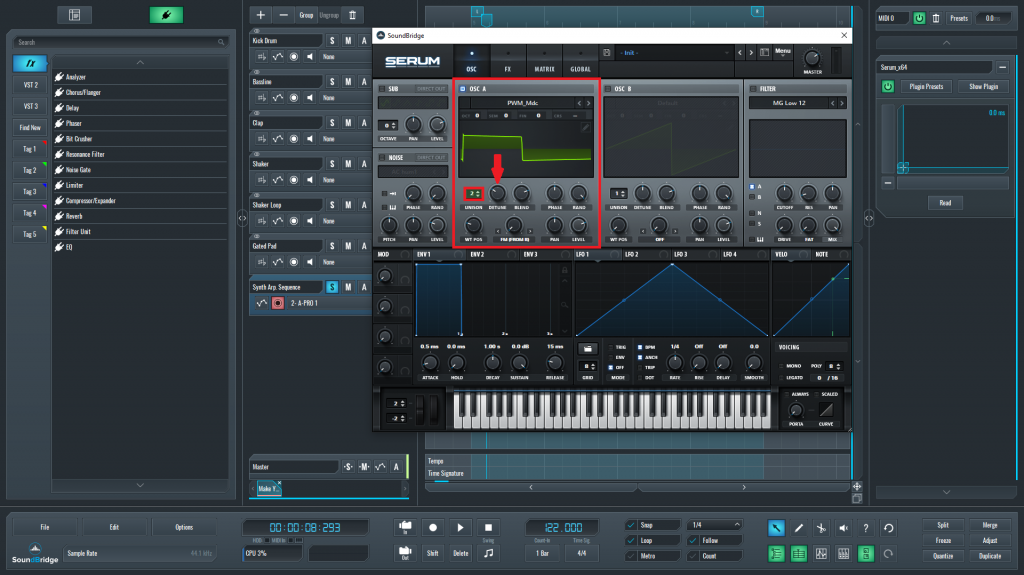 This is a picture of the Xfer Serum oscillator section 1. I have used it to generate the base of the synth arp sequence.
